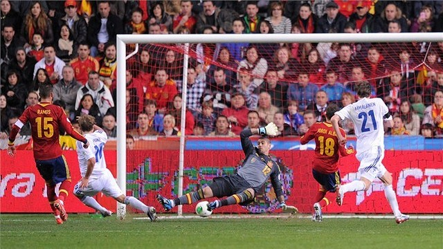 El gol de Finldia contra Espanya. FOTO: fifa.com