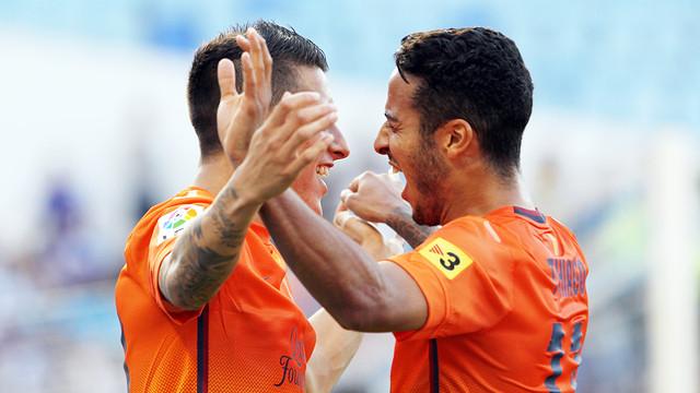 Tello and Thiago at La Rosaleda / PHOTO: MIGUEL RUIZ-FCB