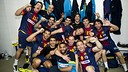 Les joueurs du FC Barcelone Intersport / Photo Alex Caparros