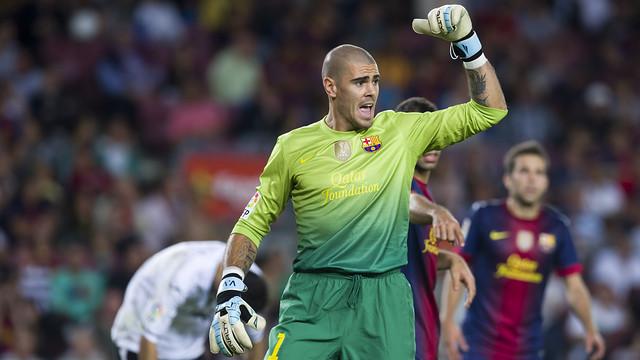 Valdés, en un partit contra el València. FOTO: ÁLEX CAPARRÓS - FCB