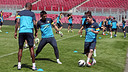 Messi, Oier and Abidal, during the training session / PHOTO: MIGUEL RUIZ-FCB