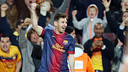Leo Messi celebrates one of his two goals against Betis / PHOTO: MIGUEL RUIZ-FCB