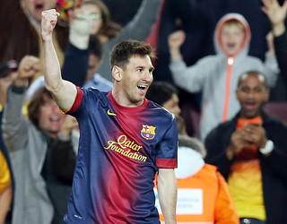 Leo Messi celebra un dels dos gols contra el Betis / FOTO: MIGUEL RUIZ-FCB