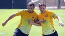 Javier Mascherano i Leo Messi, a l'entrenament d'aquest dimecres / FOTO: MIGUEL RUIZ - FCB