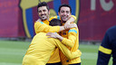 Villa, Xavi and Alexis / PHOTO: MIGUEL RUIZ - FCB