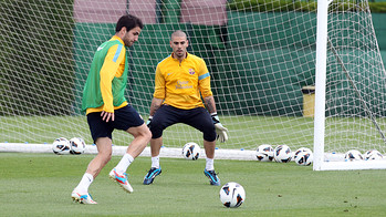 Valds i Cesc, durant l'entrenament d'aquest dissabte / FOTO: MIGUEL RUIZ-FCB