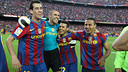 Busquets, Valds, Pedro y Thiago celebran la Liga 2009/10 / FOTO: ARCHIVO FCB