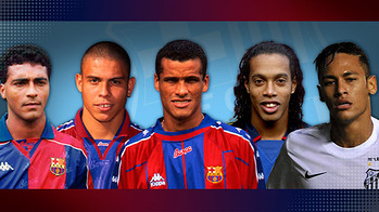 Romario, Ronaldo, Rivaldo, Ronaldo y Neymar