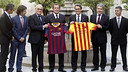 Rosell and Mas at the Palau de la Generalitat. PHOTO: MIGUEL RUIZ-FCB.