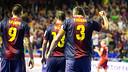 Torras, celebrant el gol del primer partit de la final. FOTO: Arxiu FCB