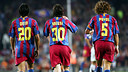 Messi, celebrant el seu gol al Gamper del 2005. FOTO: Arxiu FCB
