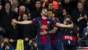 Villa celebrates a goal against AC Milan / PHOTO: ARXIU FCB