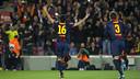 Busquets, celebrant un gol contra l'Atlètic de Madrid / FOTO: ÀLEX CAPARRÓS - FCB