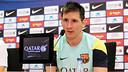 Messi, en conférence de presse. PHOTO: MIGUEL RUIZ - FCB