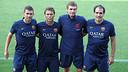 •From left to right, Melero, Rubi, Vilanova and Torras. PHOTO: MIGUEL RUIZ-FCB.
