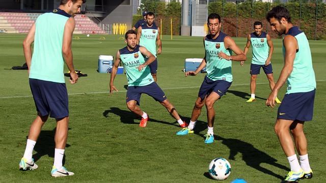 L'entrenament d'aquest dimarts al matí. FOTO: MIGUEL RUIZ-FCB.