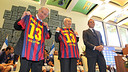 President Sandro Rosell with Shimon Peres and Benjamin Netanyahu / PHOTO: MIGUEL RUIZ - FCB
