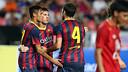 Neymar, Messi i Cesc celebren un dels gols a Bangkok / FOTO: MIGUEL RUIZ-FCB