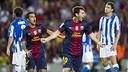 Messi celebrates the goal against Real Sociedad last season / Photo: FCB ARCHIVE
