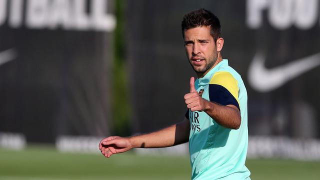Jordi Alba training on Thursday. PHOTO: MIGUEL RUIZ - FCB