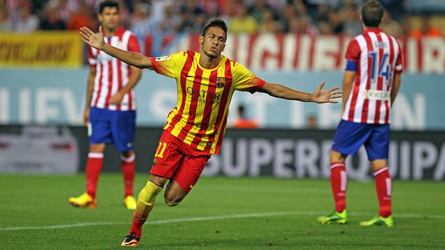 Neymar celebra amb els braços oberts el gol marcat a l'Atlètic de Madrid