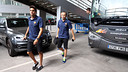 Marc Bartra and Andrés Iniesta arriving at the Ciutat Esportiva / PHOTO: MIGUEL RUIZ - FCB