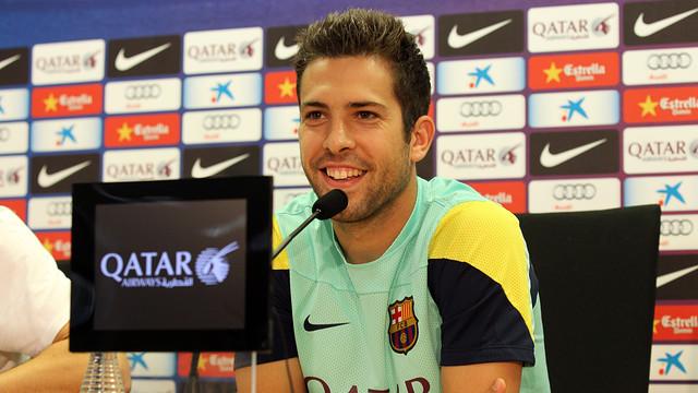 Jordi Alba, in today's press conference at the Ciutat Esportiva / PHOTO: MIGUEL RUIZ - FCB