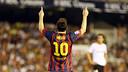 Messi celebrates one of his goals in Mestalla / PHOTO: MIGUEL RUIZ - FCB