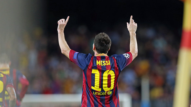 Leo Messi during a match at Camp Nou