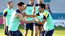 Messi and Xavi during training / PHOTO: MIGUEL RUIZ-FCB
