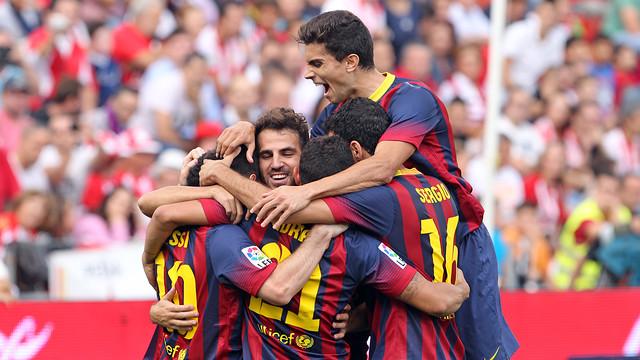 Messi scores against Almería. PHOTO: MIGUEL RUIZ-FCB.