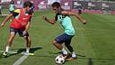 Neymar and Sergi Roberto in training this morning / PHOTO: MIGUEL RUIZ - FCB