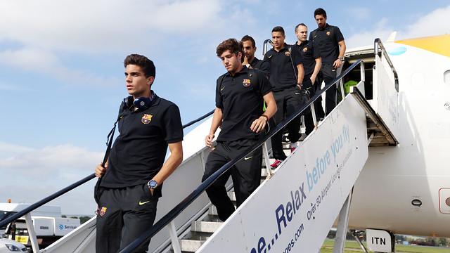 L'equip, en la seva arribada a Glasgow / FOTO: MIGUEL RUIZ-FCB