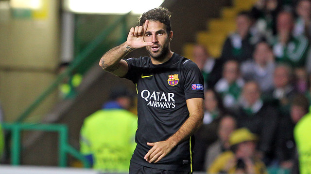 Cesc after he scored his goal / PHOTO: MIGUEL RUIZ - FCB