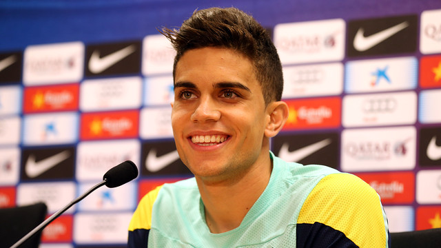 Marc Bartra speaking to the press today / PHOTO: MIGUEL RUIZ-FCB