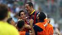 Adriano euphoric after scoring against Malaga. PHOTO: MIGUEL RUIZ - FCB