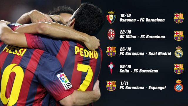 El Barça jugará cinco partidos en 14 días a partir del sábado.