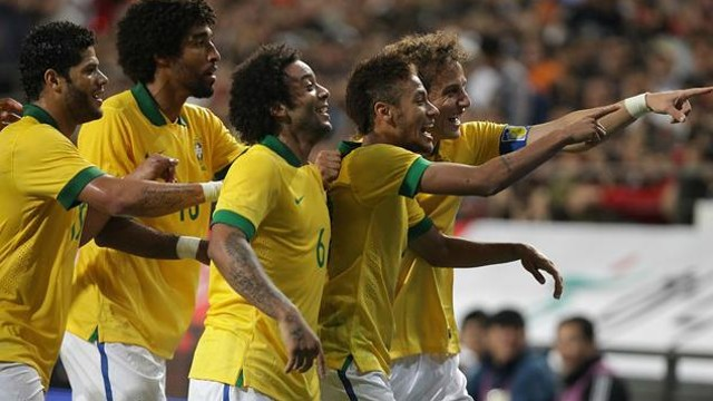 Neymar celebrates scoring for Brazil against S Korea. PHOTO: FIFA.COM