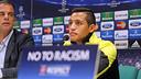 Alexis Sánchez ha atès els mitjans a la sala de premsa de San Siro / FOTO: MIGUEL RUIZ - FCB