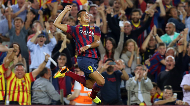 Alexis celebrating his goal against Madrid. PHOTO: MIGUEL RUIZ-FCB.