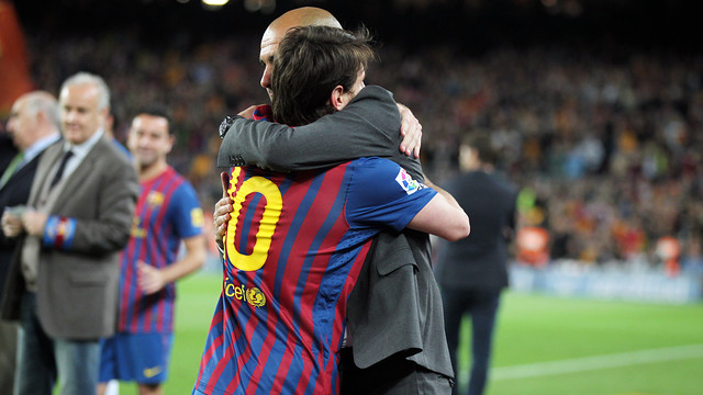 Messi and Guardiola at the derby in 2011/12. PHOTO: MIGUEL RUIZ-FCB.