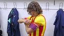 Puyol, amb el braçal de capità