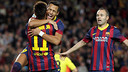 Alexis, Neymar and Iniesta celebrating Friday's goal. PHOTO: MIGUEL RUIZ-FCB.
