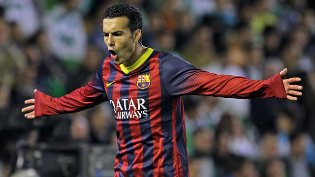 Pedro celebrating the second goal / PHOTO: MIGUEL RUIZ-FCB