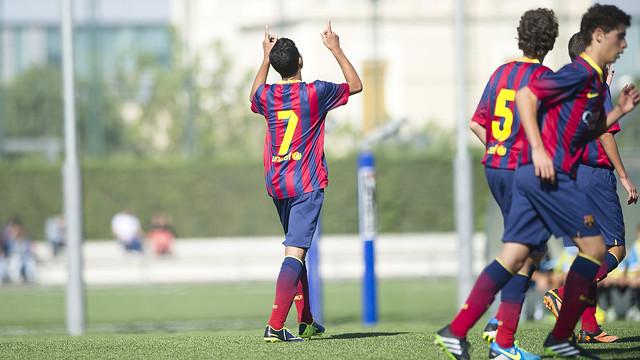 Gol de l'Infantil A. FOTO: VÍCTOR SALGADO-FCB.