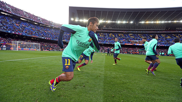 Neymar, during the warm-up. PHOTO: MIGUEL RUIZ - FCB