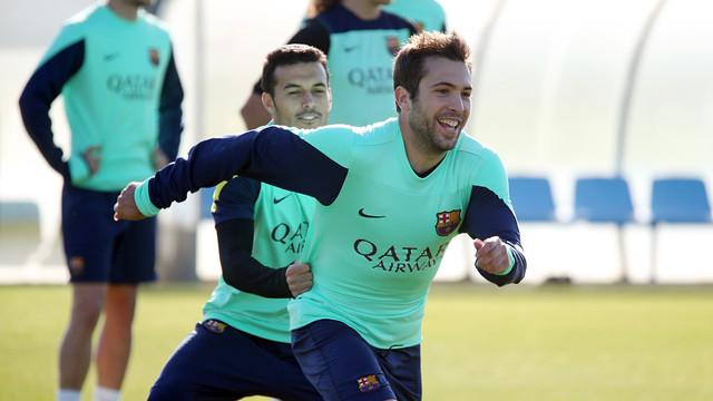 Jordi Alba in training this morning / PHOTO: MIGUEL RUIZ – FCB