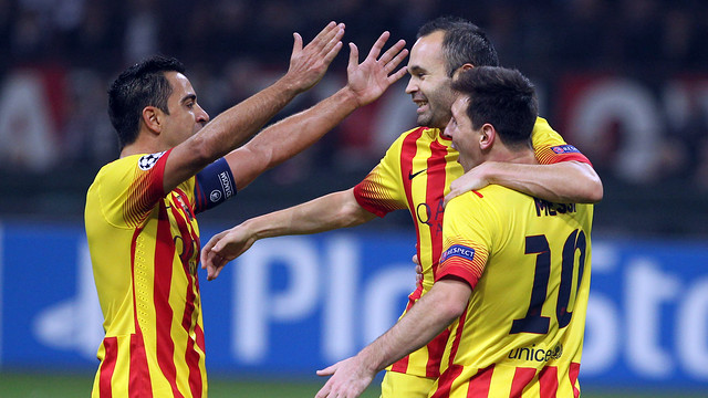 Xavi, Iniesta and Messi celebrating together at the San Siro
