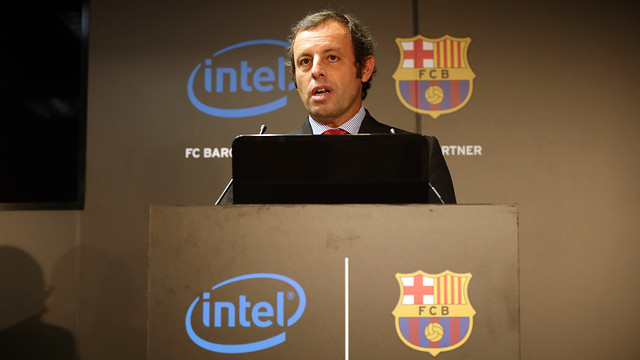 Rosell, during the presentation of the new agreement