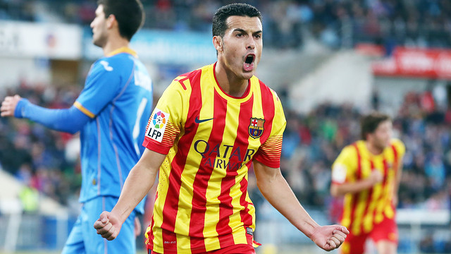 Pedro celebrates one of his goals against Getafe / PHOTO: MIGUEL RUIZ - FCB